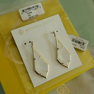 Kendra Scott Olivia Rock Crystal gold earrings